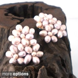 Blooming Floral Romance Pink Pearl Clip On Earrings (Thailand)