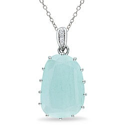 Sterling Silver 9 4/5ct TGW Aquamarine and Diamond Accent Necklace