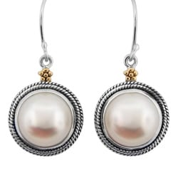 Meredith Leigh 14k Gold and Sterling Silver FW Pearl Earrings (10 mm)