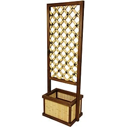 Japanese-Style Bamboo 6-foot Trellis with Planter (China) - Thumbnail 0