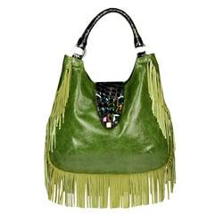 Vintage Reign 'Dolores' Green Fringe Leather Satchel - Thumbnail 0