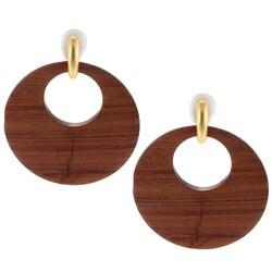 Kenneth Jay Lane Goldtone Dark Wood Earrings