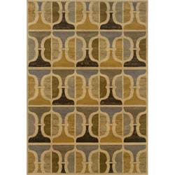 Gold and Grey Transitional Area Rug (6'7 x 9'6)