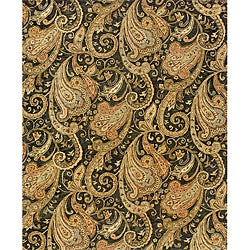 "Evan Black/ Gold Transitional Area Rug (8'3 x 11'3) - 8'3"" x 11'3"" - Thumbnail 0"