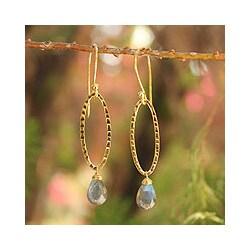 Gold Overlay 'Iris Dewdrop' Labradorite Dangle Earrings (Thailand)