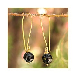 Gold Overlay 'Songkran Moon' Onyx Dangle Earrings (Thailand)