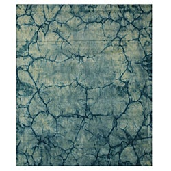 Handmade Wool Teal Contemporary Abstract Dip Dyed Rug - 5' x 8'