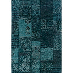 Patchwork Over-dyed Teal/ Gray Area Rug (9'10 x 12'10)
