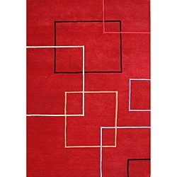 Alliyah Handmade Andy Red New Zealand Blend Wool Area Rug (8' x 10')