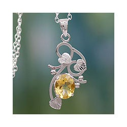 Handmade Sterling Silver 'Sun Blossom' Citrine Necklace (India)