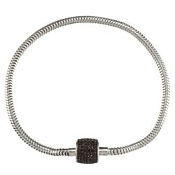 Victoria Kay Sterling Silver 1/2ct TDW Black Diamond Pave Barrel Bracelet