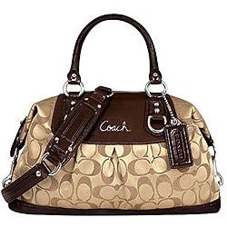 Coach Signature Ashley Sabrina Brown Fabric/Leather Satchel Bag