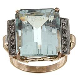 18k Gold Art Deco Aquamarine and 1/3ct TDW Diamond Estate Ring (I-J, SI1-SI2)