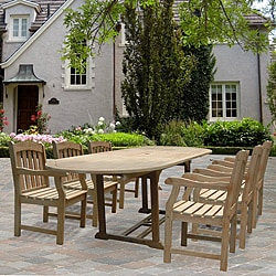 Renaissance Oval Outdoor Hand-scraped Hardwood Dining Set
