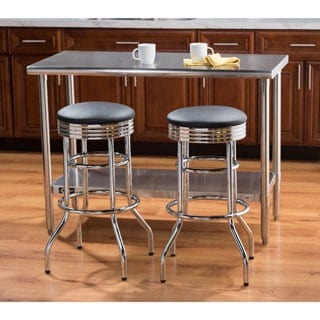 Trinity 29-inch Black/ Chrome Swivel Barstools (Set of 2)