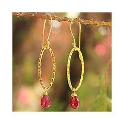 Gold Overlay 'Iris Dewdrop' Ruby Dangle Earrings (Thailand)