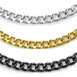 Crucible Men's High-polish Stainless Steel Curb-chain Necklace