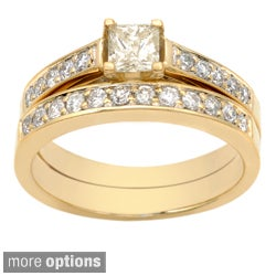 Auriya 14k Gold 1ct TDW Certified Princess-cut Diamond Bridal Ring Set