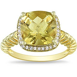 Miadora Gold-plated Silver 4ct Citrine and 1/6ct TDW Diamond Ring (H-I, I3)