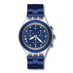 Swatch Unisex 'Full Blooded' Navy-blue Watch with Crystal Accents