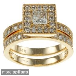 Auriya 14k Gold 1 1/2ct TDW Certified Princess-Cut Diamond Bridal Ring Set