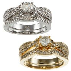 Auriya 14k Gold 3/4ct TDW Certified Round Diamond Bridal Ring Set (H-I, I1-I2)
