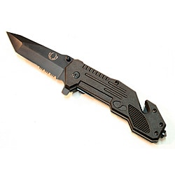 Defender Black 9-inch Spring-assisted Folding Tactical Knife