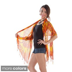 1 World Sarongs Women's Orange Tie Dye Gauze Scarf (Indonesia)