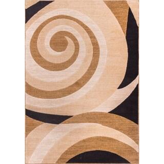 Scrolls Waves Gold Beige Ivory Black Geometric Swirl Area Rug (7'10 x 9'10)