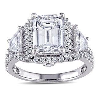 Miadora Signature Collection 14k White Gold 3 3/4ct TDW Certified Emerald Diamond Ring (E, SI1, GIA)