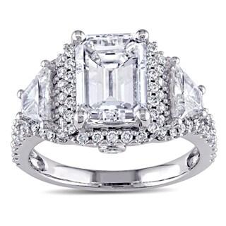 Miadora Signature Collection 14k White Gold 3 3/4ct TDW Certified Emerald Diamond Ring
