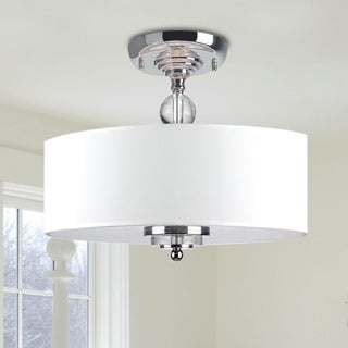 Clay Alder Home LeGore Crystal Decorated Off-White Shade Flushmount Ceiling Chandelier