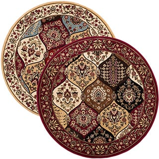 Victorian Panel Oriental Border Lattice Trellis Area Rug (5'3 Round)