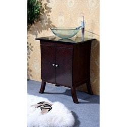 Dark Walnut 27-inch Bathroom Vanity Glass Bowl Sink