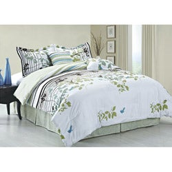 Florence Faux Silk 6-piece Queen-size Comforter Set - Thumbnail 0