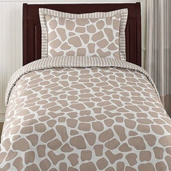Sweet JoJo Designs Taupe and Off White Giraffe 4-piece Twin-size Bedding Set