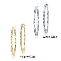 14k Gold 2ct TDW Diamond Hoop Earrings (J-K, I1-I2)