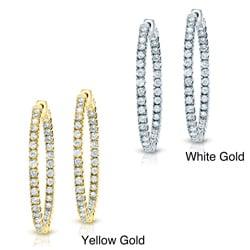 14k Gold 1ct TDW Diamond Hoop Earrings (H-I, SI1-SI2)