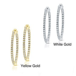14k Gold 1-1/2ct TDW Diamond Hoop Earrings (J-K, I1-I2)