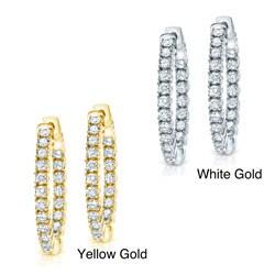 14k Gold 2ct TDW Inside-out Diamond Hoop Earrings