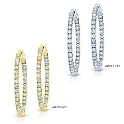 14k Gold 3-1/2ct TDW Diamond Hoop Earrings