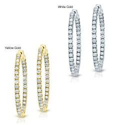 14k Gold 3-1/2ct TDW Diamond Hoop Earrings (J-K, I1-I2)