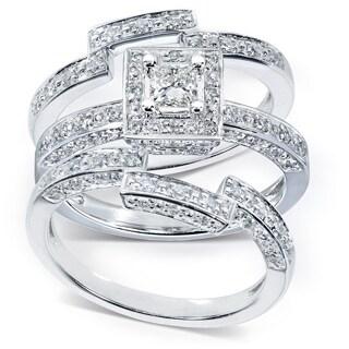 Annello 14k Gold 4/5ct TDW Diamond 3-piece Halo Bridal Ring Set