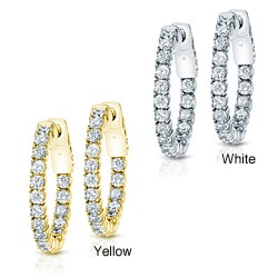 14k Gold 2 1/2ct TDW Diamond Hoop Earrings (H-I, SI1-SI2)