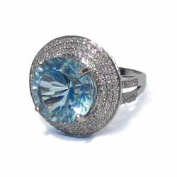 California Girl Jewelry 14k White Gold Aquamarine and 1 1/4ct TDW Diamond Ring (H-I, SI1-SI2)