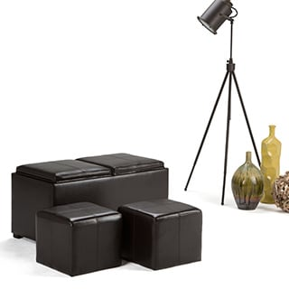 WYNDENHALL Franklin 5-piece Faux Leather Storage Ottoman with 2 Serving Trays