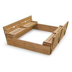 Badger Basket Covered Convertible Cedar Sandbox with Two Bench Seats