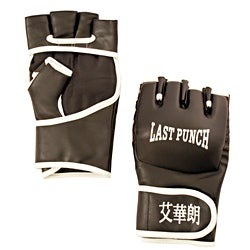 Defender Black Leather Medium Wristwrap Heavy Bag Boxing Training Gloves