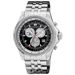 Akribos XXIV Men's Large Chronograph Black Bracelet Watch