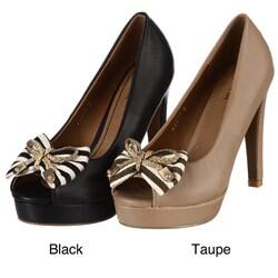 Shop Henry Ferrera Women S Bow Embellished Peep Toe Pumps